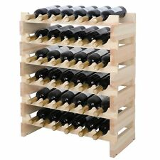 Wine Rack Stackable Storage Stand, Solid Wood Display Shelves 36 Bottle Capacity
