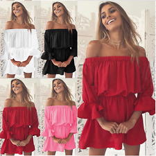 Womens Off Shoulder Frill Ladies Beach Flared Long Sleeve Party Mini Short Dress
