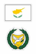 Cyprus Flag + Coat of Arms 2x Stickers for Bumper Helmet Tool Box Hard Hat