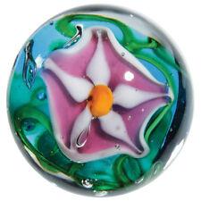 """22mm STARGAZER Lily flower Handmade art glass Pink Blue Marble ball 7/8"""" SHOOTER"""