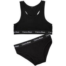 Calvin Klein Women's Modern Black Cotton Bralette and Bikini Set Size Large