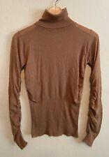SPORTMAX by MAX MARA Cashmere Turtleneck Sweater Lightweight Ruched Sz S Brown