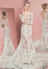 2018 Simple Summer A-Line Lace Wedding Dresses Long Sleeve Bridal Gowns Custom