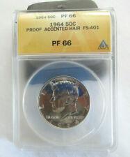 1964 Kennedy Half Dollar Accented Hair Proof Silver Coin ANACS PF66 White Blazer
