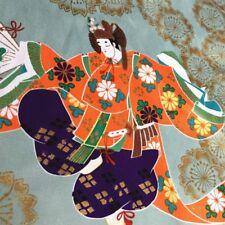 Kimono Cotton Satin Fabric Japanese Geisha Dancing Sateen Cloths By Metre