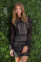 PARKER LACE CONTRAST RUFFLE BLACK VALENTINO DRESS NWT S