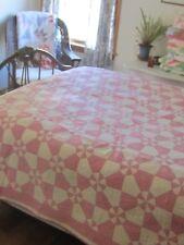 "Spectacular! Antique Vintage Pink + White Whirligig Quilt 66"" X 85"""