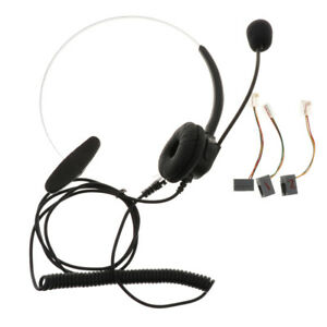 Call Center Office Hands-free Telephone RJ9 Plug Headset Monaural Microphone -