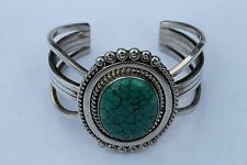 Sterling Silver turquoise Signed Running Bear Cuff aprox 77 grams
