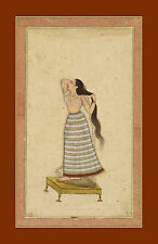 India Miniature Painting Reproduction: Lady preparing for bath - Fine Art Print