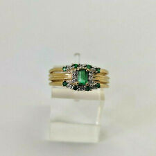 9ct Gold Hallmarked Emerald & Diamond 3 x Ring Set.  Goldmine Jewellers.