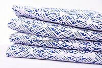 5 Yard Indian Hand Block Print Cotton Dress Material Indigo Dye Floral Fabric