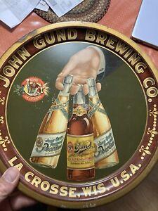 Pre-Prohibition Beer Tray John Gund LaCrosse WI 3 Bottles