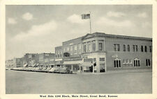 Vintage Postcard Main Street Scen Great Bend KS Barton County Coca Cola Sign