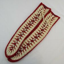 "Hand Knit Women's Red, White, Gray 21"" Lace Up Slipper Socks NWOT One Size"