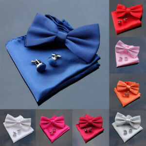 Men 3pcs Satin/Silk Plain Pre-Tied Bow Tie Cufflinks Pocket Square Handkerchief