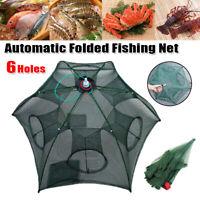 6 Holes Foldable Fishing Shrimp Fish Crab Yabbie Net Trap Fishing Pot Basket