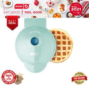 """Dash Mini 4"""" Waffle Maker Non Stick 350 Watts Aqua Machine Recipes Included"""