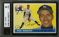 1955 TOPPS BASEBALL CARD~#189~PHIL RIZZUTO~HOF~NEW YORK YANKEES~KSA 8 NM-MT