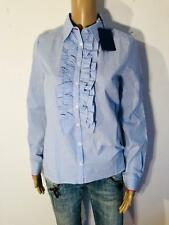 CONLEYS - Elegante Bluse mit Rüschen in blau NEU Gr XS 34 2443N