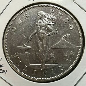 1905-S PHILIPPINES SILVER ONE PESO SCARCE CROWN