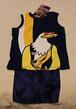 West Coast Eagles AFL Boys Mascot Printed Cotton Satin Pyjama Set Size 5 New