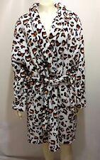 Hotel Spa Collections Womens L/XL Leopard Animal Print Fleece Bath Robe