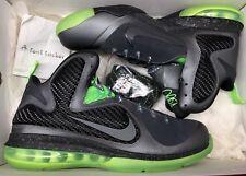 Nike Lebron 9 IX Dunkman Dark Grey Black Volt Green 469764-006 Sz 9