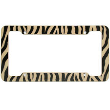 New Brown Safari Zebra Tiger Print Plastic License Plate Frame Car Truck SUV Van