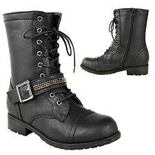 Para Mujer señoras Ejército Militar Plana Tobillo Suela agarre lazada combatir Biker Boots Tamaño