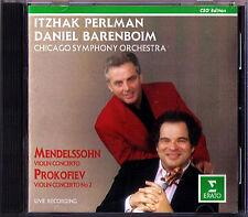 PERLMAN: MENDELSSOHN PROKOFIEV Violin Concerto BARENBOIM CD Itzhak Daniel
