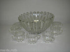 Federal Glass CELESTIAL Clear 8 pc Punch Set Bowl & 7 Cups Mid Century.