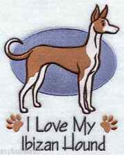 IBIZAN HOUND I LOVE MY SET OF 2 BATH HAND TOWELS EMBROIDERED BY LAURA