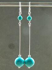Turquoise Gemstones & 925 Sterling Silver Long Drop Elegant Handmade Earrings