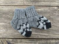 Baby Boy Girl Socks Booties Crib Shoes Hand Knit Alpaca 0-3 m Fair Isle Gray