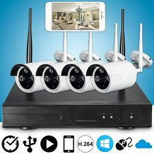 4CH HD 720P P2P Wireless NVR Kit System Wifi Camera Outdoor CCTV Security IR Set