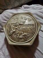 Vintage 1980 Avon Ceramarte Brazil Hexagonal Shaped Covered Box Mallard Ducks