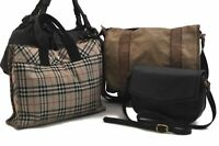Authentic Burberry BALLY Check Canvas Leather Shoulder Hand Bag Brown 4Set C2003