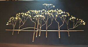 Mid Century Modern C Jere Mixed Metal Elm Tree Wall Sculpture , SIGNED AND DATED