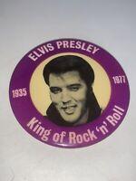 "Vintage 1935-1977 King of Rock-N-Roll ELVIS Presley Pinback Button Original 3"""