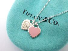 "Tiffany & Co Return to Mini Double Heart Pendant Necklace Enamel Pink 16"""
