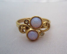 "Vintage SARAH COVENTRY ""CONFECTION"" FIRE OPAL RHINESTONE RING Art Glass Gold"