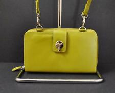 ili World Leather Smart Phone Wallet Crossbody Strap RFID Zip Slot Moss Green W3