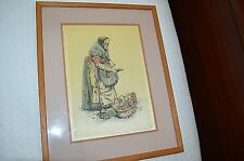 Paul Geissler  Etching on Silk Vegetable Woman Artwork Vintage Framed Germany