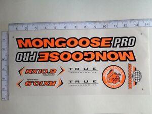 Mongoose PRO RX 10.9 Titanium Stickers  Orange, Black & White. Die Cut.