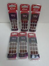 KISS ARTIST GLUE ON NAILS CHIP FREE MANICURE SHORT 7 DAY WEAR  #51054 - LOT OF 6