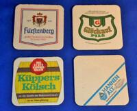 GERMAN BEER COASTERS LOT OF 4 VINTAGE KUPPERS, HANNEN, GLUCKAUF & FURSTENBERG