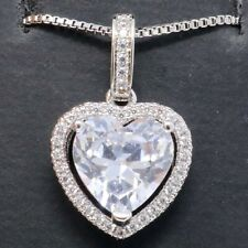Sparkling Moissanite Heart Necklace Women Jewelry 14K White Gold Plated