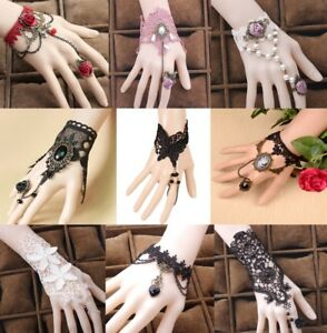 Retro Bracelet Ring Henna Vintage Steampunk Gothic Stretch Lace Victorian Choker