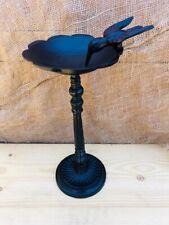 Cast Iron Free Standing Bird Feeder Bath Black Hummingbird Yard Art Garden Decor
